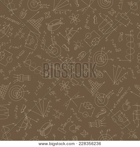Seamless Pattern On The Theme Of Study And Subject Of Physics, Graphs And Formulas, Beige Outlines O
