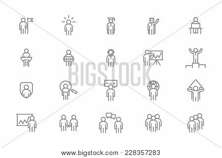 Set Of Vector Human Resources And Business Organization Management Line Icons. Teamwork, Presentatio