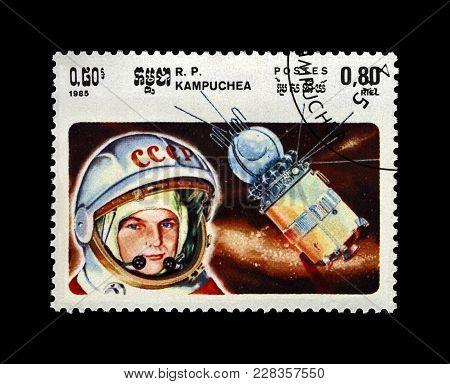 Cambodia (republic Of Kampuchea) - Circa 1985: Canceled Stamp Printed In Cambodia (republic Of Kampu