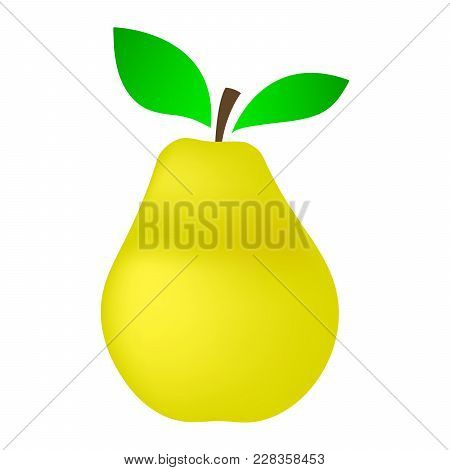 Yellow Pear On A White Background. Vector Illustration