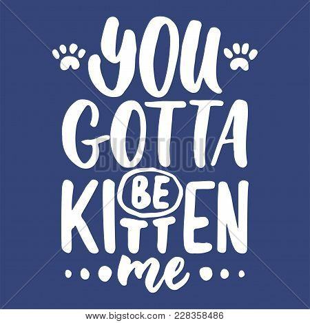 You Gotta Be Kitten Me - Hand Drawn Lettering Phrase For Animal Lovers On The Dark Blue Background.