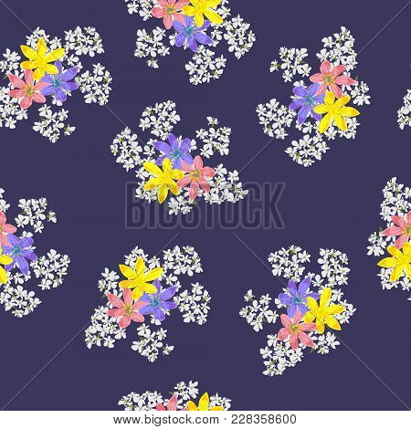Vintage Seamless Pattern In Small Cute Flower On Violet Background. Flower Background For Textile, C
