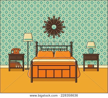 Bedroom Interior. Vector. Hotel Room In Flat Design. Retro Home Space With Bed In Line Art. Outline