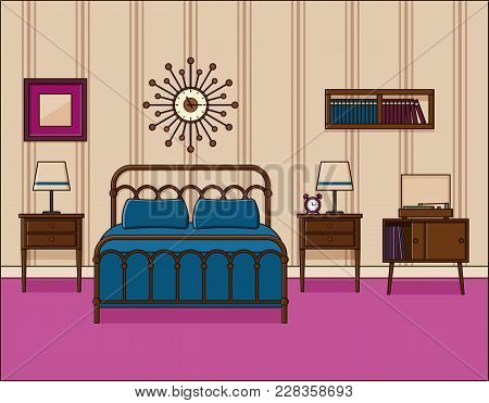 Bedroom Interior. Hotel Room. Vector In Flat Design. Retro Home Space With Bed In Line Art. Outline