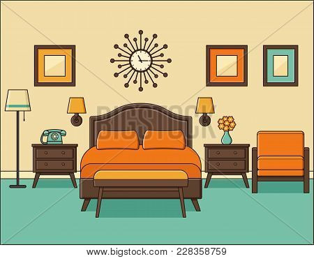 Bedroom Retro Interior. Hotel Room In Flat Design With Bed. Vector. Home Space In Line Art. Linear I