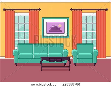 Room Interior. Vector. Living Room In Flat Design. Home Space With Furniture, Windows In Line Art. O