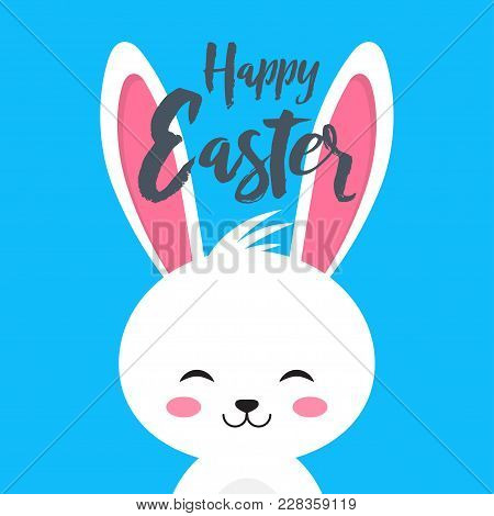 Happy Easter Rabbit, White Cute Bunny. Vector Illustration On Blue Background.