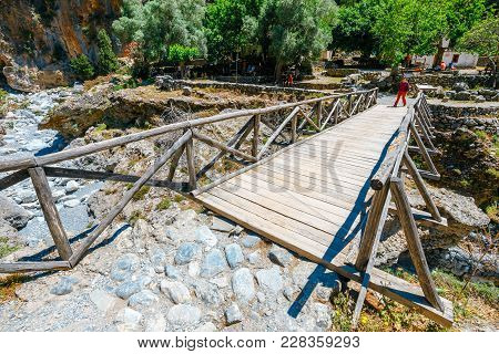 Crete, Greece, May 26, 2016: Displaced Village Samaria In Samaria Gorge In Central Crete, Greece