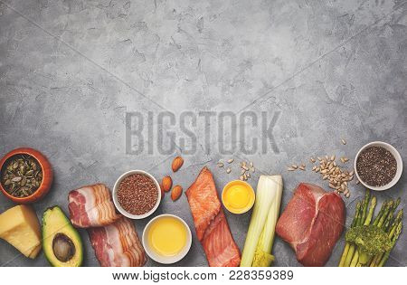 Ingredients For Ketogenic Diet: Meat, Bacon, Fish, Broccoli, Asparagus, Avocado, Mushrooms, Cheese,