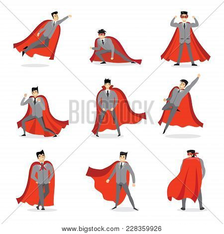 Vector Illustrations In Flat Design Of Set Of Businessmen Superheroes With The Red Cloak.