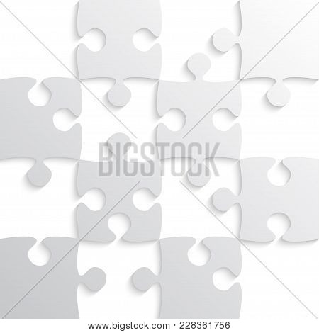 Grey Puzzle Pieces - Jigsaw - Vector Illustration. Jigsaw Puzzle. Vector Background. Field For Chess