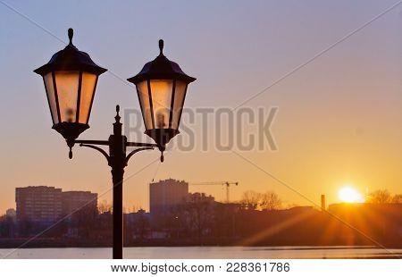 Street Lamp At Dawn, Street Lighting In The Sunset