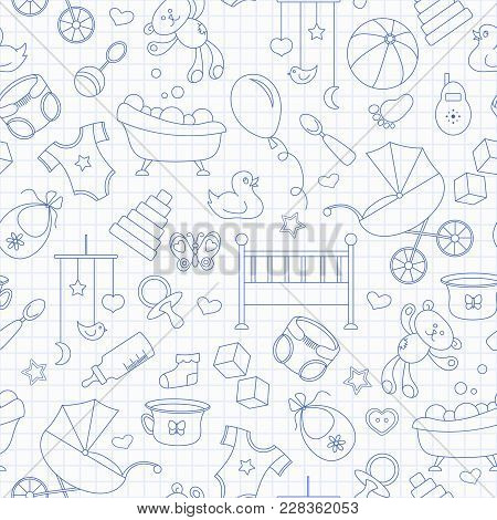 Seamless Pattern On The Theme Of Childhood And Newborn Babies, Baby Accessories And Toys, Simple Con