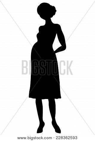 Pregnant Woman Silhouette, Vector Outline Drawing, Shape Expectant Girl With A Big Belly Full-length