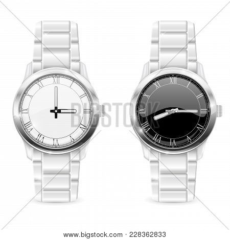 Men Wrist Watches With Metal Bracelet. Clockface With Roman Numerals. Vector 3d Illustration Isolate