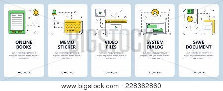 Vector Set Of Vertical Banners With Online Books, Memo Sticker, Video Files, System Dialog, Save Doc