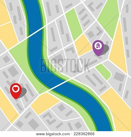 City Map Of An Imaginary City With A River And Two Pins. Vector Illustration.