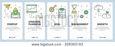 Vector Set Of Vertical Banners With Startup, Strategic Planning, Goal, Management, Growth Website Te