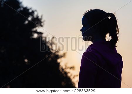 Girl Closeup Profile Silhouetted