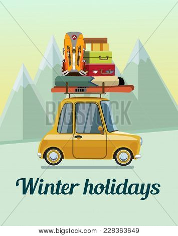 Winter Holidays. Winter Holidays In The Mountains. Trip On A Winter Vacation In The Mountains. The T