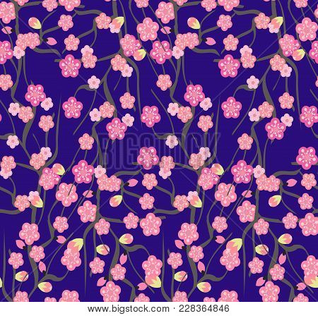 Cherry Blossoms With The Branches Pattern On A Violet Background. Seamless Pattern With Blooming Sak