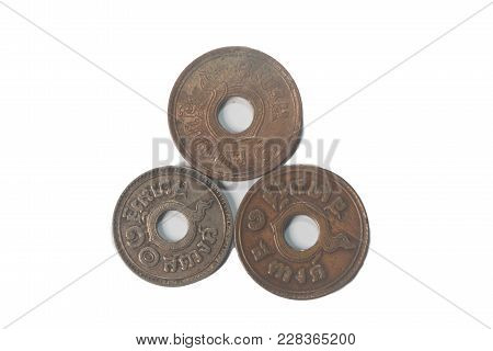 Ancient  Thailand Coins In 1919,1921,1939 Isolate On White