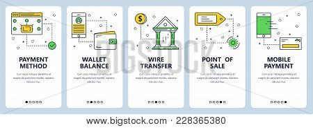 Vector Set Of Vertical Banners With Payment Method, Wallet Balance, Wire Transfer, Point Of Sale, Mo