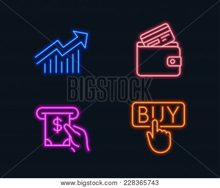 Neon Lights. Set Of Demand Curve, Atm Service And Debit Card Icons. Buying Sign. Statistical Report,