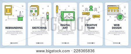 Vector Set Of Vertical Banners With Rebranding, Sketching, Digital Art, Creative Team, Web Design We