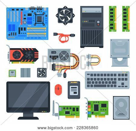 Computer Accessories Vector Pc Equipment Motherboard Memory And Keyboard Illustration Computing Set