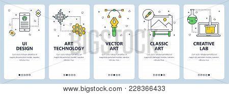 Vector Set Of Vertical Banners With Ui Design, Art Technology, Vector Art, Classic Art, Creative Lab