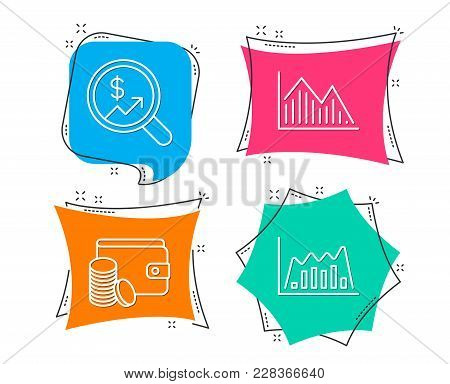 Set Of Currency Audit, Payment Method And Investment Graph Icons. Infographic Graph Sign. Money Char