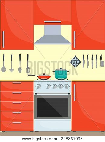 Modern Stylish Kitchen Interior. Kitchen Utensils And Appliances, Furniture, Gas Stove. Pan And Fryi