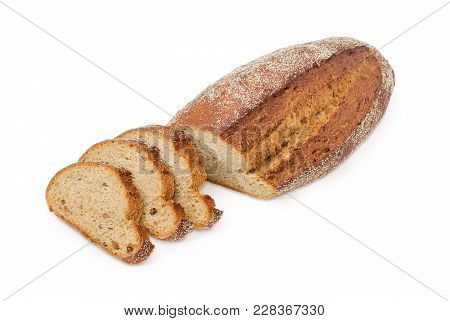 Partly Sliced Oval Loaf Of The Wheat And Rye Bread With Added Whole Sprouted Wheat Grains, Rye Malt