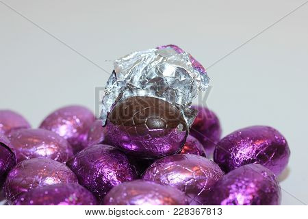 Colorful Wrapped Chocolate Easter Eggs In Close-up, Macro