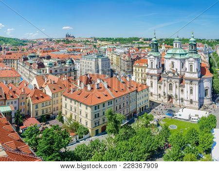 Rooftops Of The Old Town, Part Of The Old Town Square And St. Nicholas Church In Prague. View From T