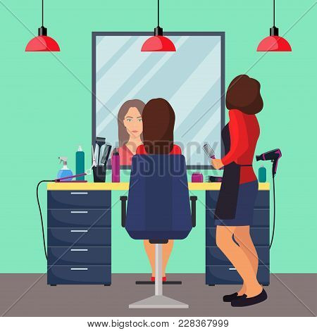 Hairdresser And Woman Client In Beauty Hairdressing Salon. Chair, Mirror, Table, Hairdressing Tools,