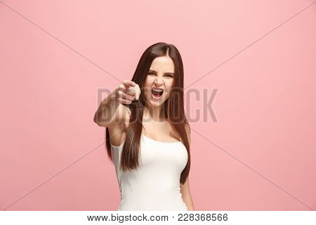 I choose you and order. Overbearing business woman point you, want you, half length closeup portrait on pink studio background. The human emotions, facial expression concept. Front view. Trendy colors poster