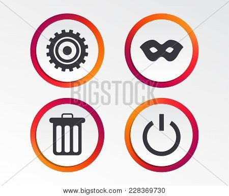Anonymous Mask And Cogwheel Gear Icons. Recycle Bin Delete And Power Sign Symbols. Infographic Desig