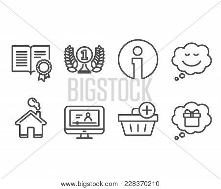 Set Of Speech Bubble, Diploma And Online Video Icons. Add Purchase, Laureate Award And Gift Dream Si