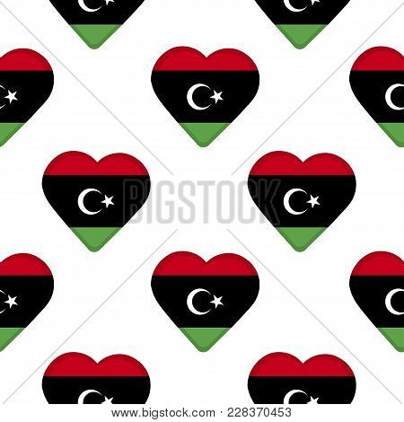 Seamless Pattern From The Hearts With Flag Of Libya. Vector Illustration