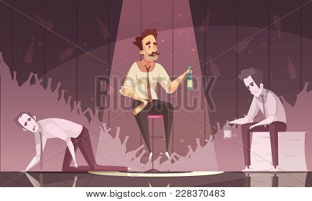 Treatment Alcoholism Dark Poster With Three Drunk Men Holding Alcohol Bottles Flat Vector Illustrati