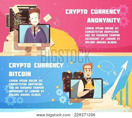 Cryptocurrency Horizontal Banners With Anonymous Proprietor Of Digital Currency And Equipment For Bi