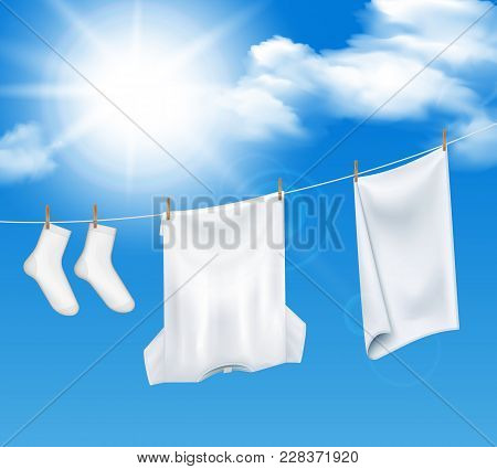 Washed Laundry Sky Background Realistic Composition Of Clear Heaven And White Clothes Drying In The