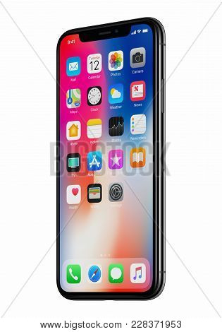 Varna, Bulgaria - January 23, 2018: New Apple Iphone X 10 Front View Slightly Rotated Isolated On Wh
