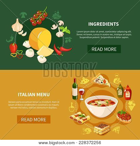 Italian Food Horizontal Banners With Ingredients For Traditional Cuisine And Restaurant Menu Items F