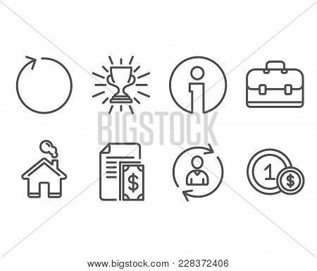 Set of Loop, Trophy and Person info icons. Payment, Portfolio and Usd coins signs. Refresh, Winner cup, Refresh user data. Cash money, Business case, Cash payment. Vector poster