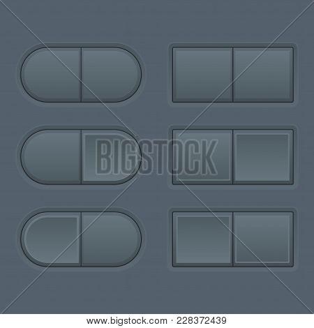 Push Buttons. Dark Gray User Interface Elements. Vector 3d Illustration