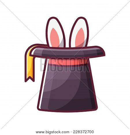 Magician Top Hat With Rabbit. Wizard Cylinder Icon. Magic Trick Concept In Flat Design.