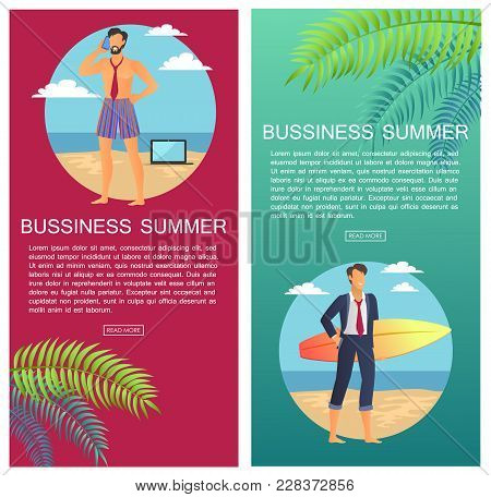 Business Summer, Web Pages Set, Businessman With Phone And Laptop, Worker With Surfboard By Seaside,